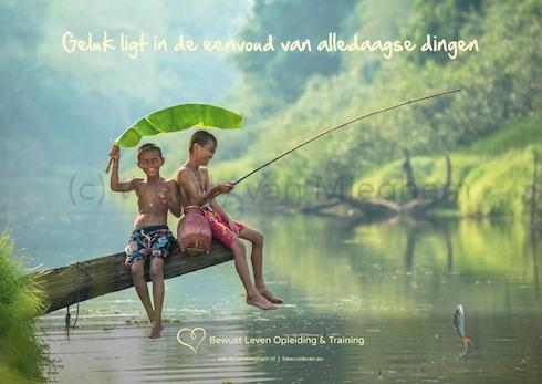 Bewust leven radio interview - 2-in-1 Poster A4 Geluk ligt in de eenvoud van alledaagse dingen-490wvm