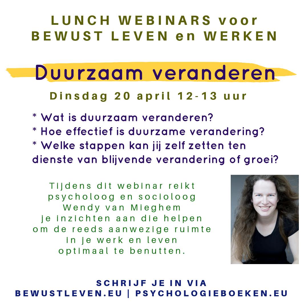 Duurzaam veranderen lunchwebinar - Bewustleven.eu